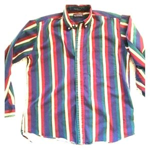 90s Vintage Striped Roundtree and Yorke button dow